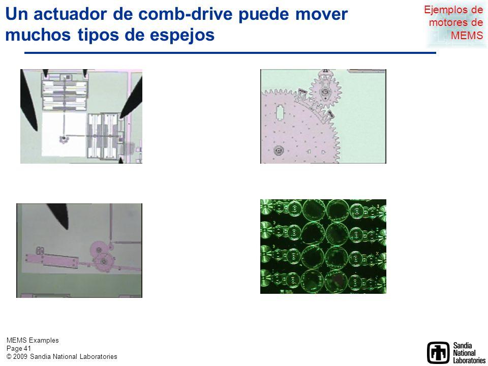 MEMS Examples Page 40 © 2009 Sandia National Laboratories Ejemplos de sensores de MEMS Ejemplos de Actuadores de Sandia