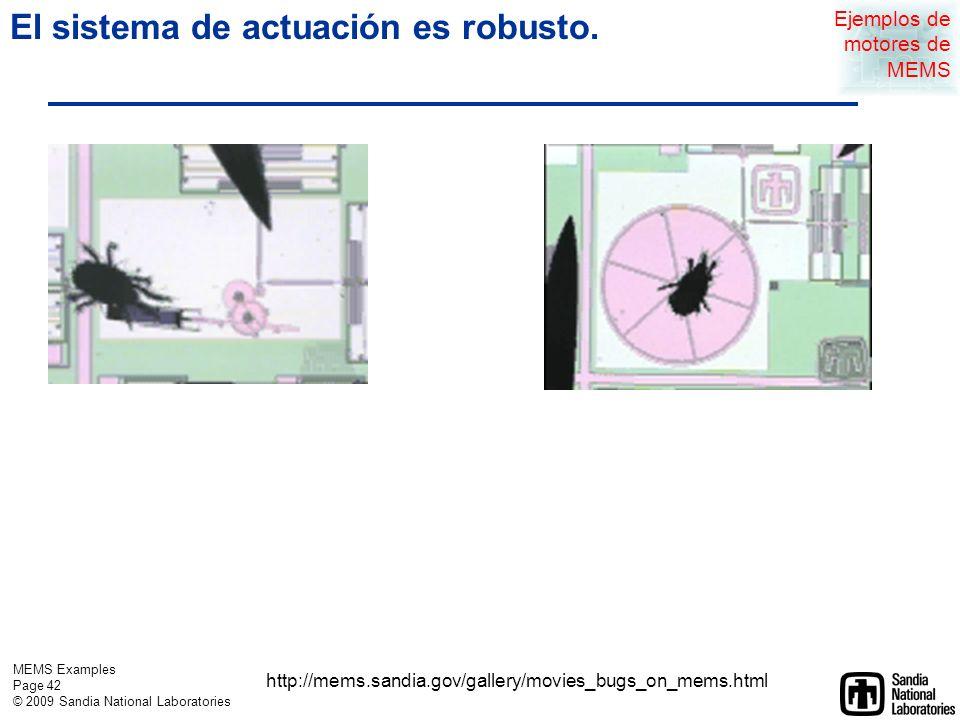 MEMS Examples Page 41 © 2009 Sandia National Laboratories Un actuador de comb-drive puede mover muchos tipos de espejos Ejemplos de motores de MEMS