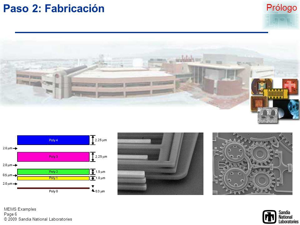 MEMS Examples Page 5 © 2009 Sandia National Laboratories Paso 1: Diseño y análisis http://mems.sandia.gov/about/design.html Prólogo