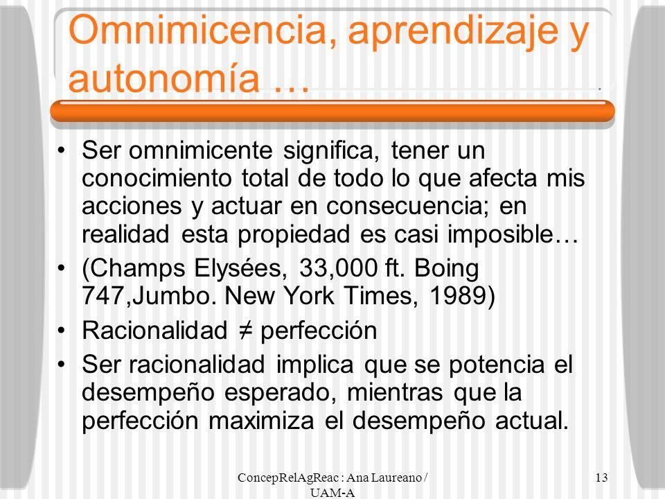 ConcepRelAgReac : Ana Laureano / UAM-A 13 Omnimicencia, aprendizaje y autonomía … Ser omnimicente significa, tener un conocimiento total de todo lo qu
