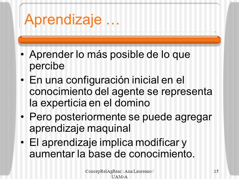 ConcepRelAgReac : Ana Laureano / UAM-A 15 Aprendizaje … Aprender lo más posible de lo que percibe En una configuración inicial en el conocimiento del