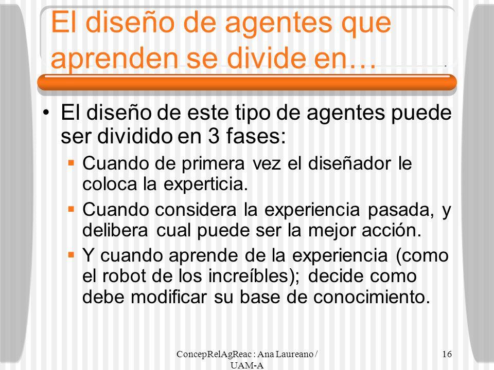ConcepRelAgReac : Ana Laureano / UAM-A 16 El diseño de agentes que aprenden se divide en… El diseño de este tipo de agentes puede ser dividido en 3 fa