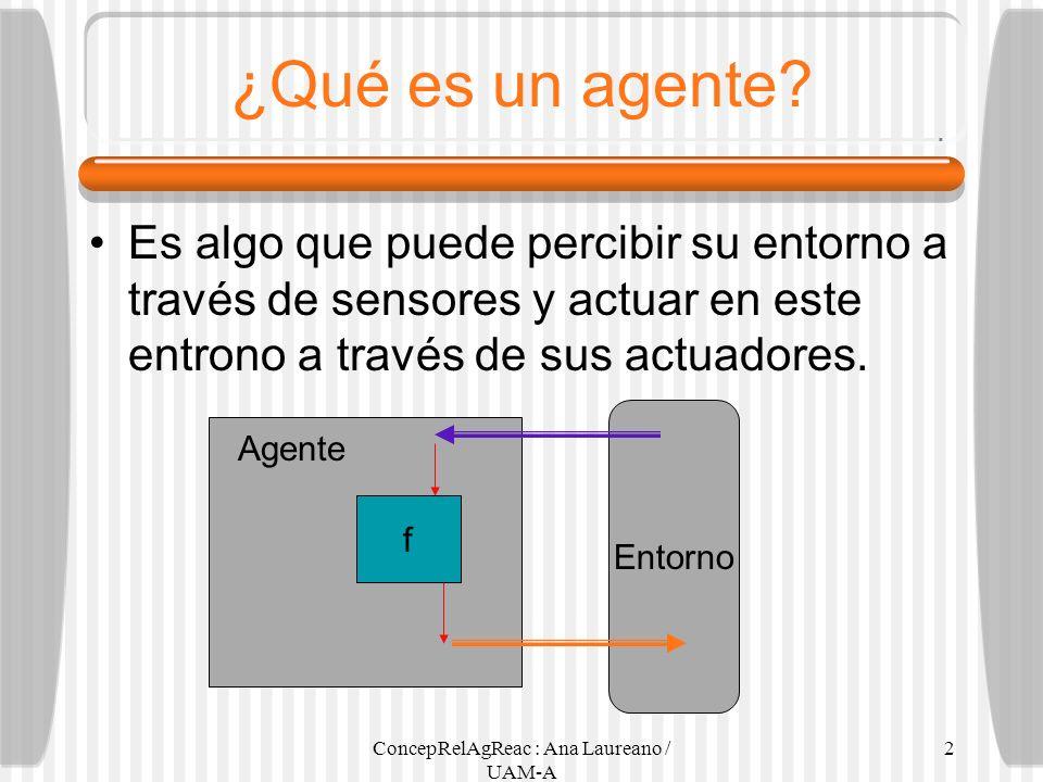 ConcepRelAgReac : Ana Laureano / UAM-A 2 ¿Qué es un agente? Es algo que puede percibir su entorno a través de sensores y actuar en este entrono a trav