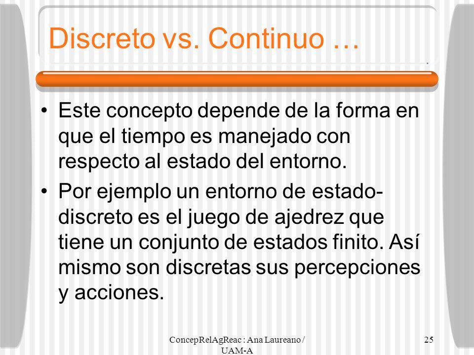 ConcepRelAgReac : Ana Laureano / UAM-A 25 Discreto vs. Continuo … Este concepto depende de la forma en que el tiempo es manejado con respecto al estad