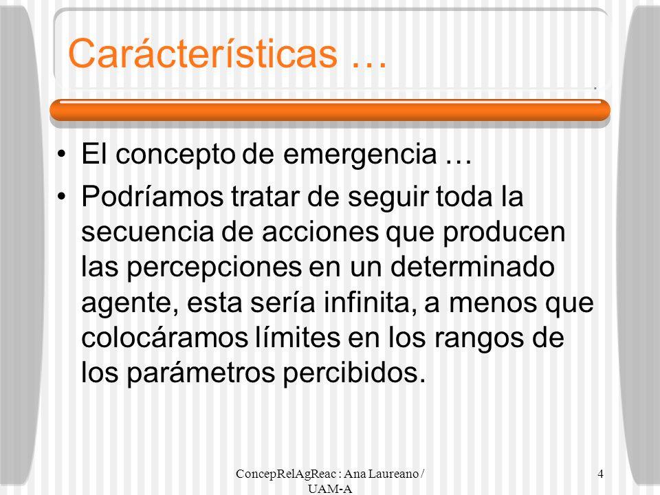 ConcepRelAgReac : Ana Laureano / UAM-A 4 Carácterísticas … El concepto de emergencia … Podríamos tratar de seguir toda la secuencia de acciones que pr