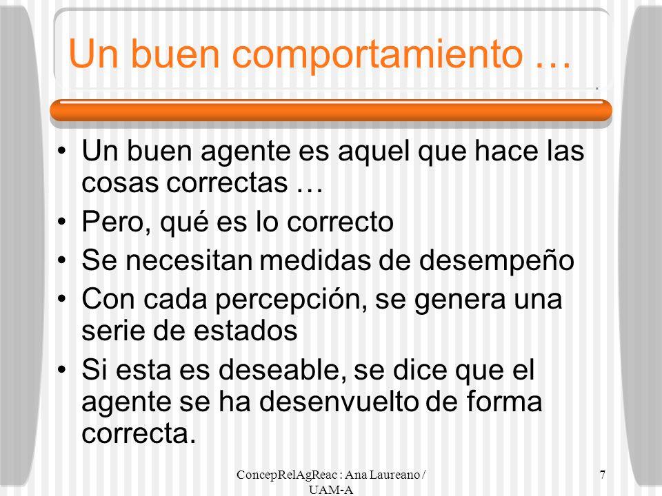 ConcepRelAgReac : Ana Laureano / UAM-A 7 Un buen comportamiento … Un buen agente es aquel que hace las cosas correctas … Pero, qué es lo correcto Se n