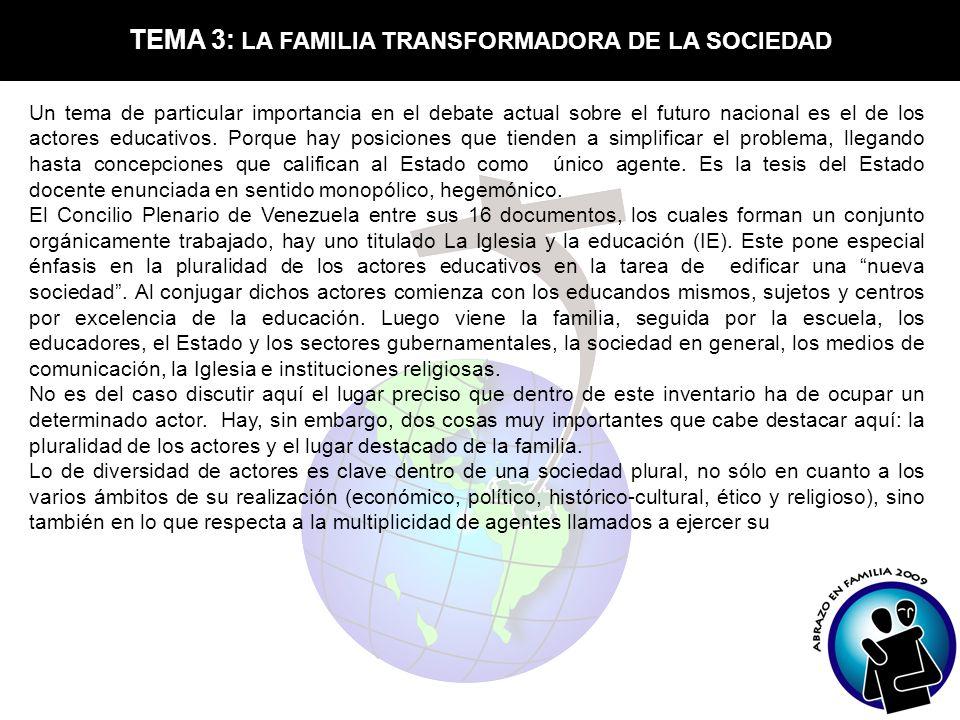TEMA 3: LA FAMILIA TRANSFORMADORA DE LA SOCIEDAD Un tema de particular importancia en el debate actual sobre el futuro nacional es el de los actores e