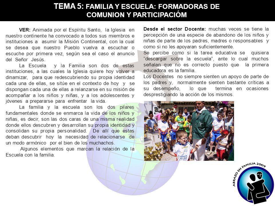 TEMA 5: FAMILIA Y ESCUELA: FORMADORAS DE COMUNION Y PARTICIPACIÓM VER: Animada por el Espíritu Santo, la Iglesia en nuestro continente ha convocado a