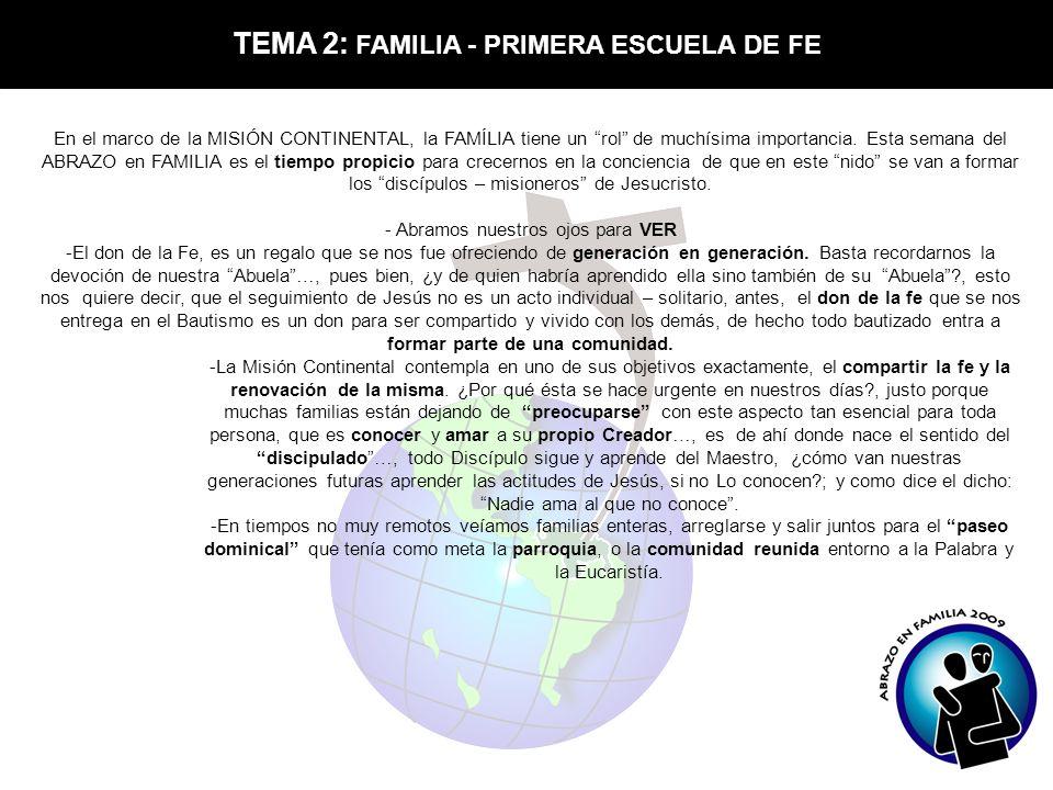 TEMA 2: FAMILIA - PRIMERA ESCUELA DE FE En el marco de la MISIÓN CONTINENTAL, la FAMÍLIA tiene un rol de muchísima importancia. Esta semana del ABRAZO