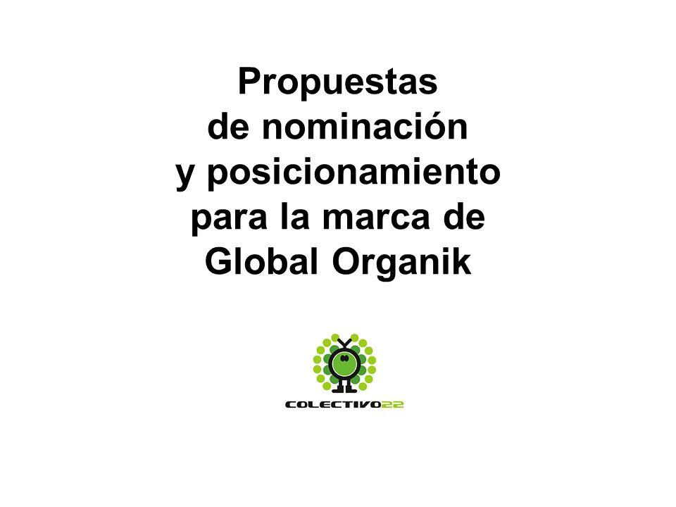 Propuestas de nominación y posicionamiento para la marca de Global Organik