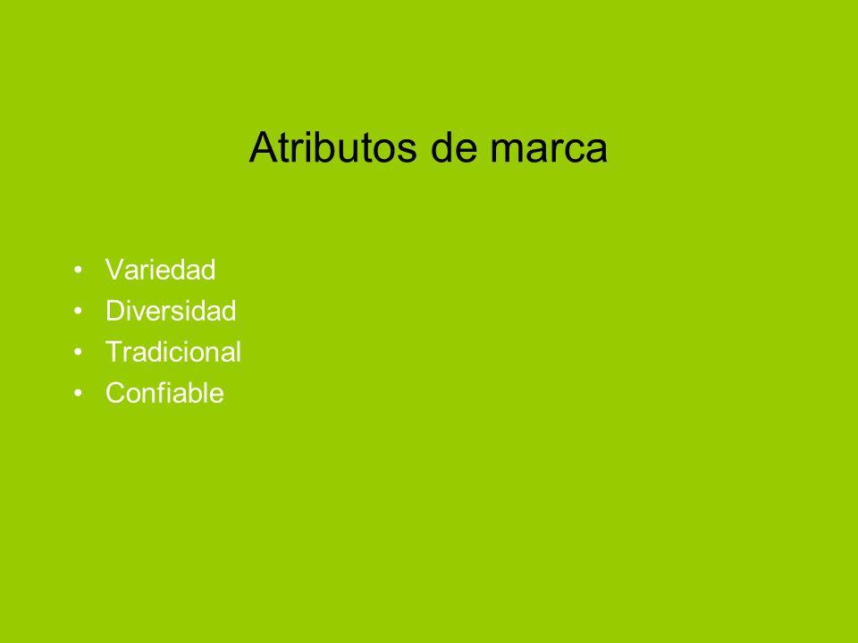 Atributos de marca Variedad Diversidad Tradicional Confiable