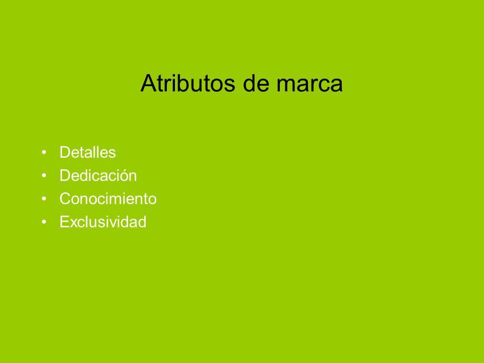 Atributos de marca Detalles Dedicación Conocimiento Exclusividad
