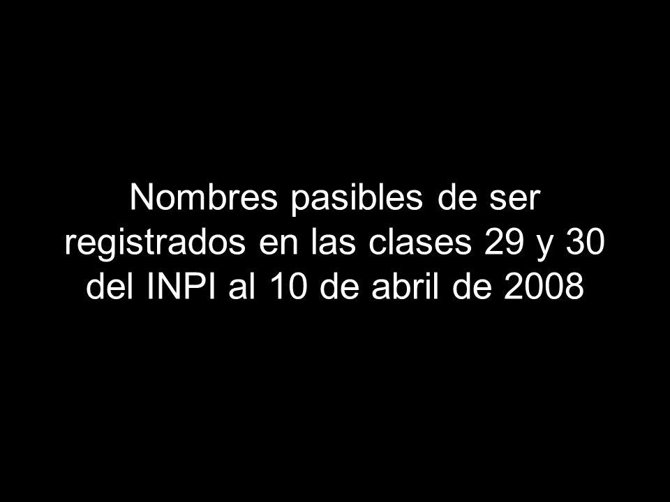 Nombres pasibles de ser registrados en las clases 29 y 30 del INPI al 10 de abril de 2008