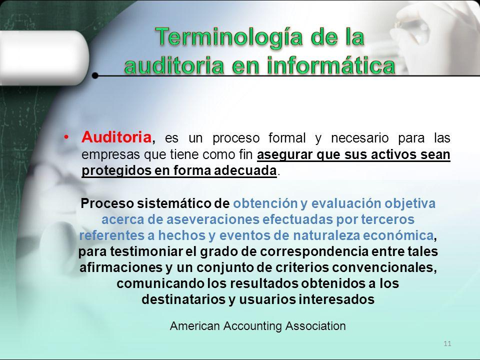 11 Auditoria, es un proceso formal y necesario para las empresas que tiene como fin asegurar que sus activos sean protegidos en forma adecuada. Proces