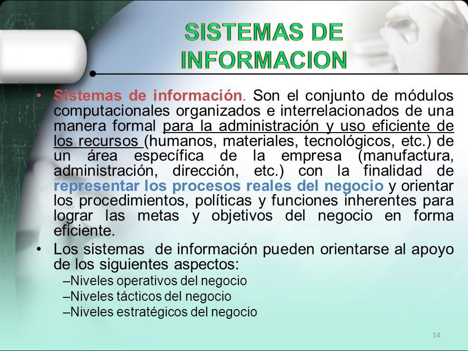 14 Sistemas de información. Son el conjunto de módulos computacionales organizados e interrelacionados de una manera formal para la administración y u
