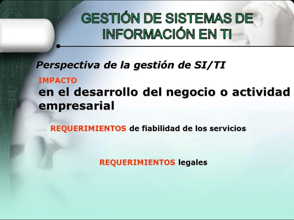 IMPACTO en el desarrollo del negocio o actividad empresarial REQUERIMIENTOS de fiabilidad de los servicios REQUERIMIENTOS legales Perspectiva de la ge