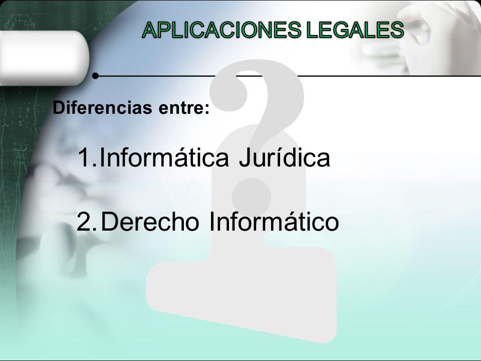 Diferencias entre: 1.Informática Jurídica 2.Derecho Informático