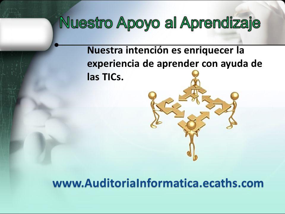 Nuestra intención es enriquecer la experiencia de aprender con ayuda de las TICs. www.AuditoriaInformatica.ecaths.com
