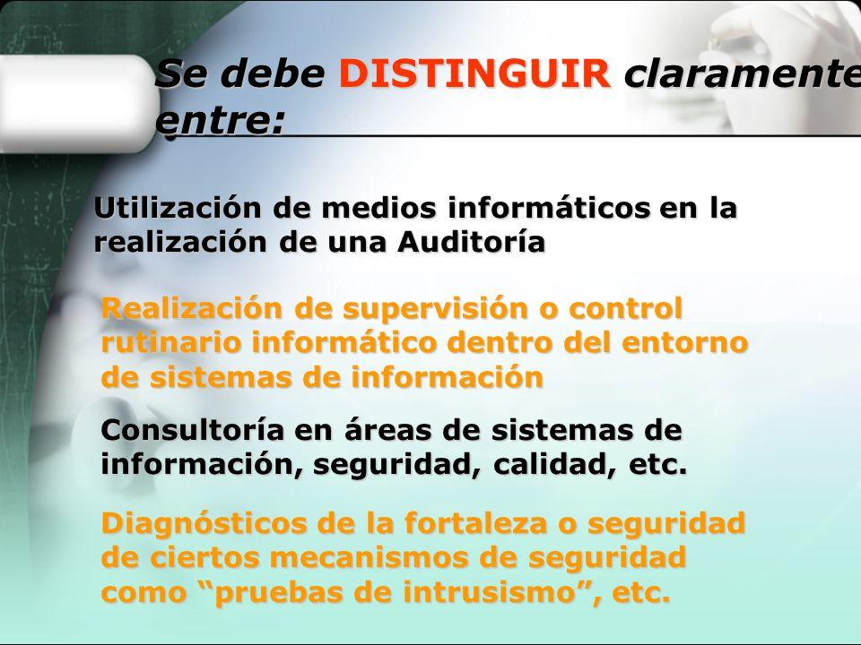Se debe DISTINGUIR claramente entre: Utilización de medios informáticos en la realización de una Auditoría Realización de supervisión o control rutina