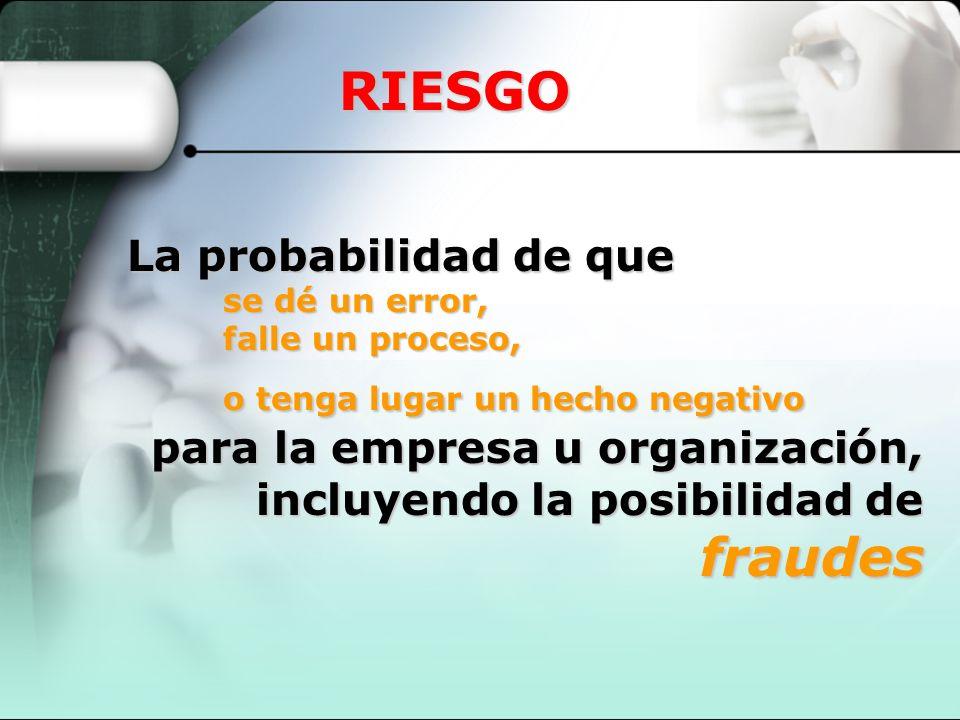 RIESGO La probabilidad de que se dé un error, falle un proceso, o tenga lugar un hecho negativo para la empresa u organización, incluyendo la posibili