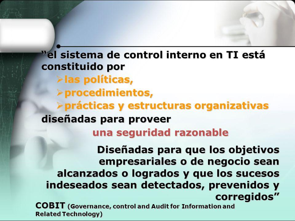 el sistema de control interno en TI está constituido por las políticas, las políticas, procedimientos, procedimientos, prácticas y estructuras organiz