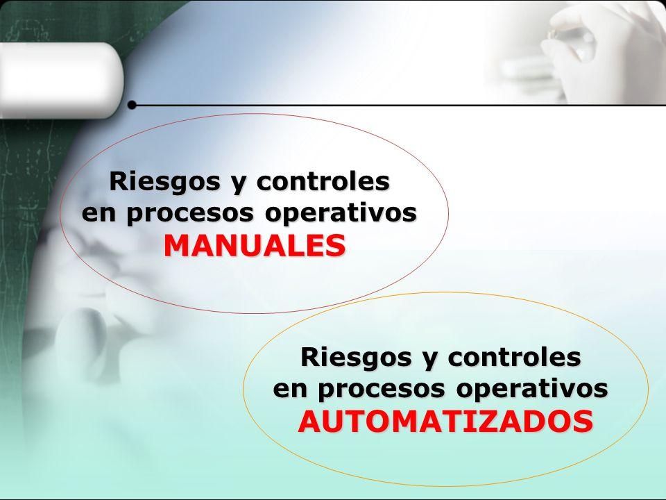 Riesgos y controles en procesos operativos MANUALES Riesgos y controles en procesos operativos AUTOMATIZADOS