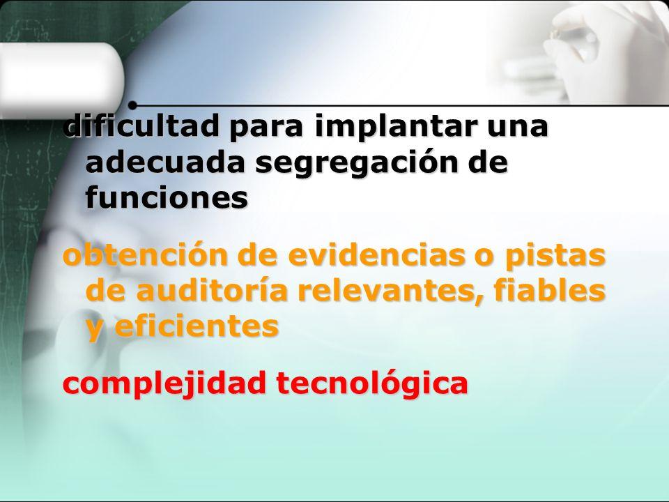 dificultad para implantar una dificultad para implantar una adecuada segregación de funciones obtención de evidencias o pistas obtención de evidencias