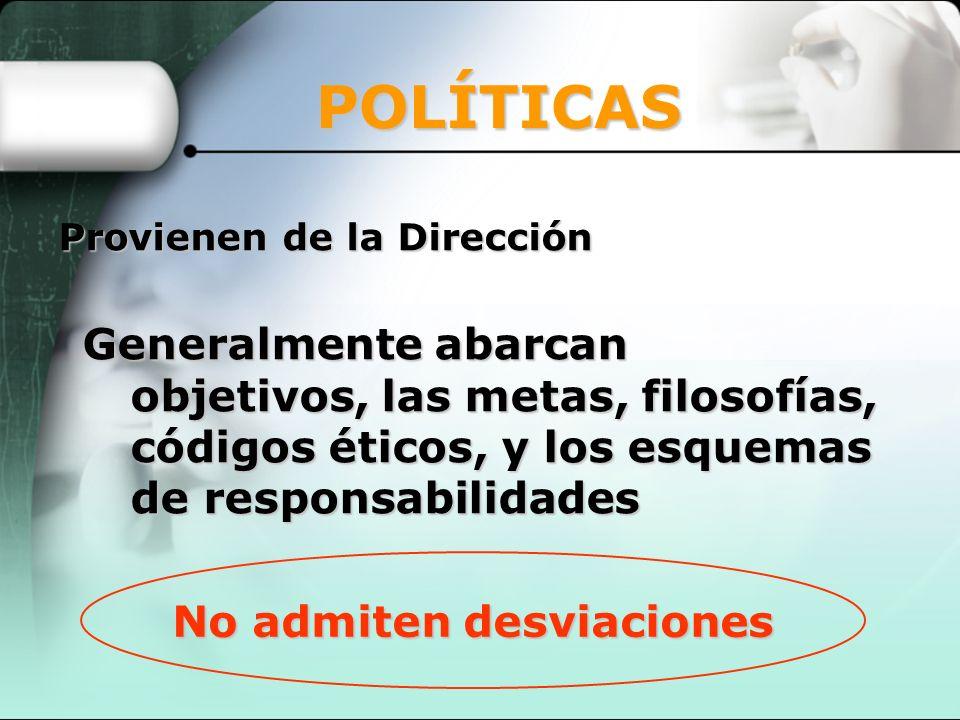 No admiten desviaciones Provienen de la Dirección POLÍTICAS Generalmente abarcan objetivos, las metas, filosofías, códigos éticos, y los esquemas de r