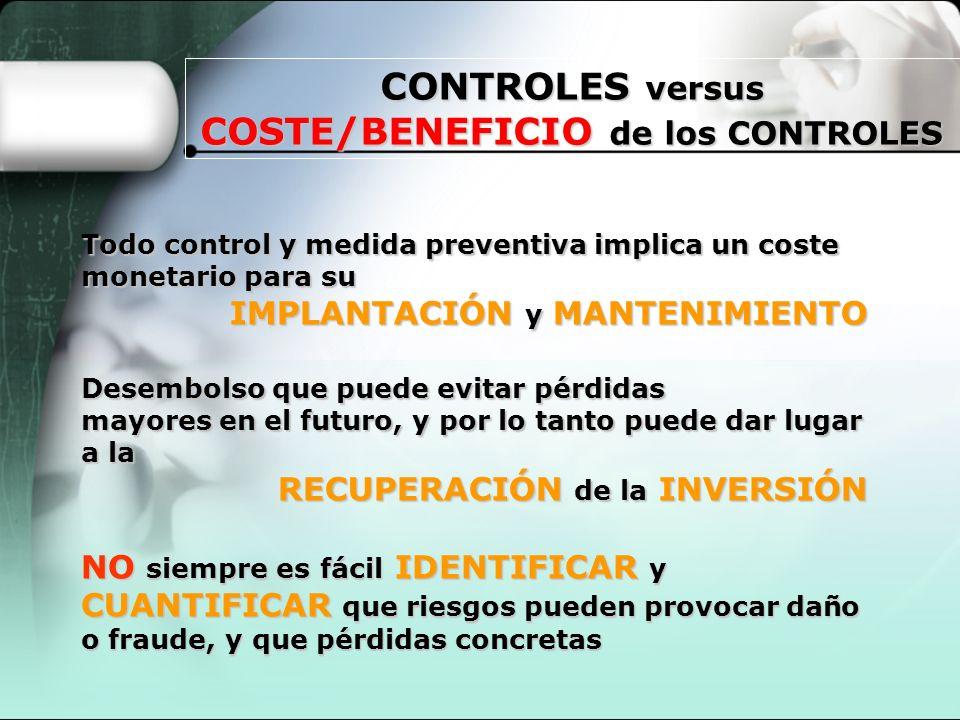 CONTROLES versus COSTE/BENEFICIO de los CONTROLES Todo control y medida preventiva implica un coste monetario para su IMPLANTACIÓN y MANTENIMIENTO IMP