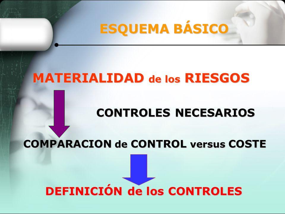 ESQUEMA BÁSICO MATERIALIDAD de los RIESGOS CONTROLES NECESARIOS COMPARACION de CONTROL versus COSTE DEFINICIÓN de los CONTROLES
