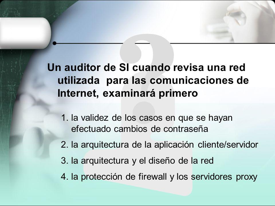 Un auditor de SI cuando revisa una red utilizada para las comunicaciones de Internet, examinará primero 1.la validez de los casos en que se hayan efec
