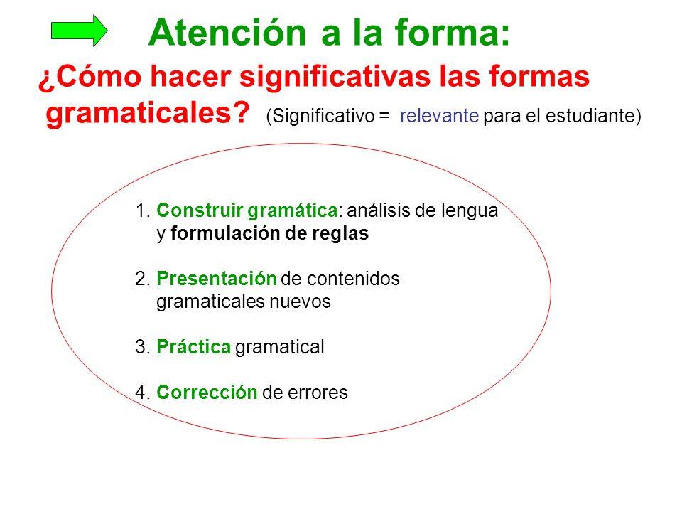 Atención a la forma: ¿Cómo hacer significativas las formas gramaticales.