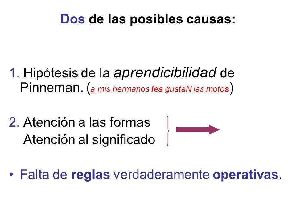 Dos de las posibles causas: 1. Hipótesis de la aprendicibilidad de Pinneman.