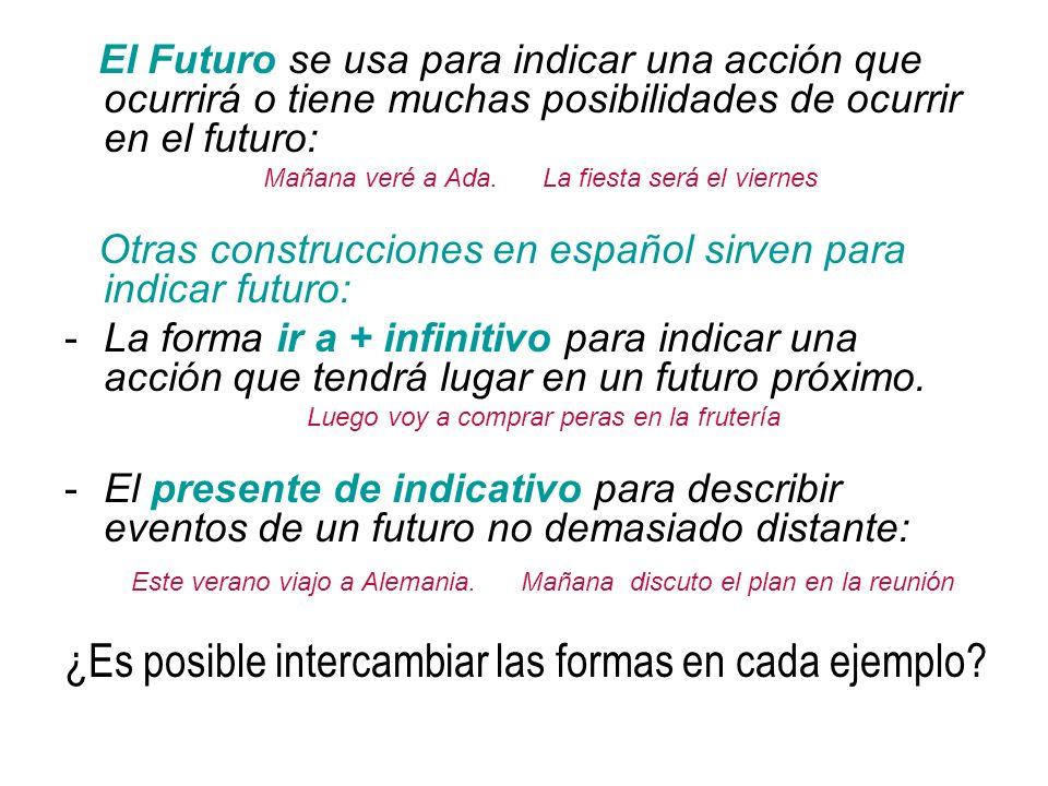 El Futuro se usa para indicar una acción que ocurrirá o tiene muchas posibilidades de ocurrir en el futuro: Mañana veré a Ada.