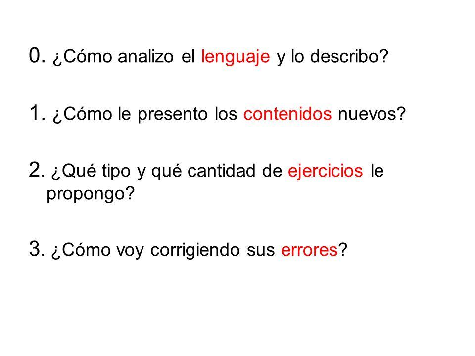 0. ¿Cómo analizo el lenguaje y lo describo. 1. ¿Cómo le presento los contenidos nuevos.