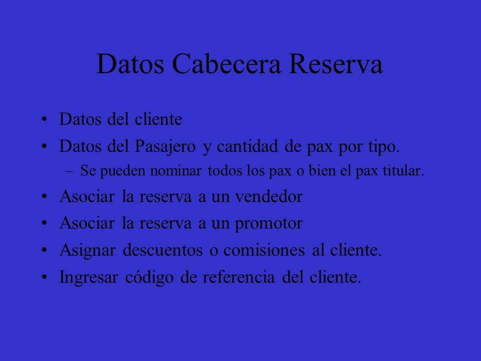 Datos Cabecera Reserva Datos del cliente Datos del Pasajero y cantidad de pax por tipo.