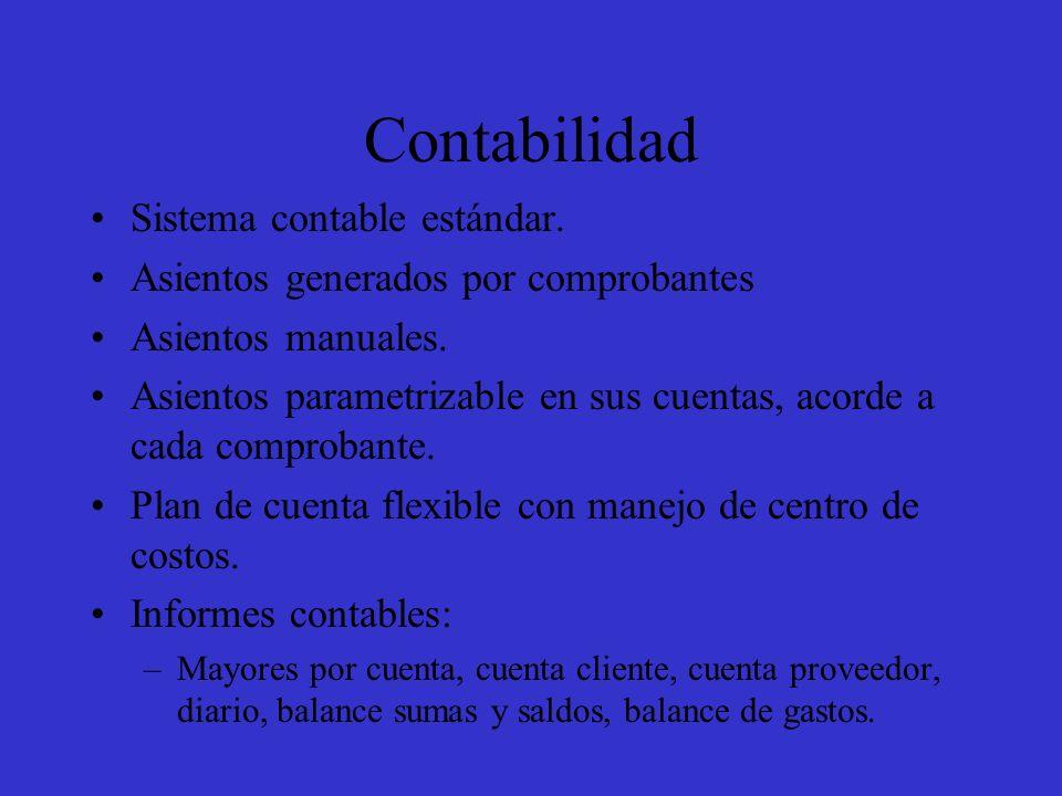 Contabilidad Sistema contable estándar.Asientos generados por comprobantes Asientos manuales.