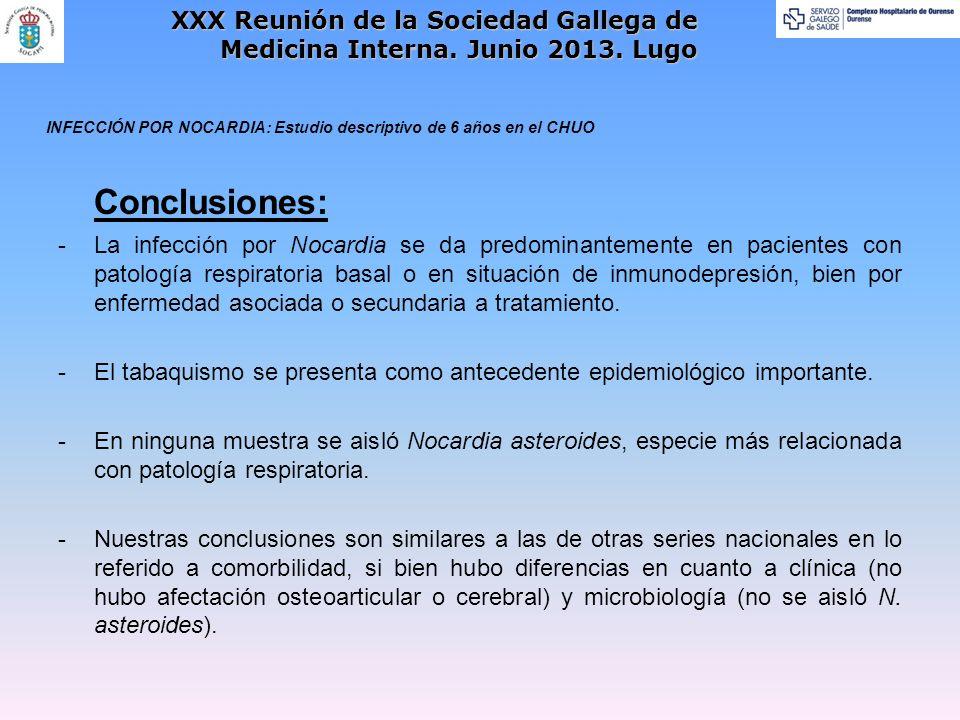 Conclusiones: -La infección por Nocardia se da predominantemente en pacientes con patología respiratoria basal o en situación de inmunodepresión, bien por enfermedad asociada o secundaria a tratamiento.