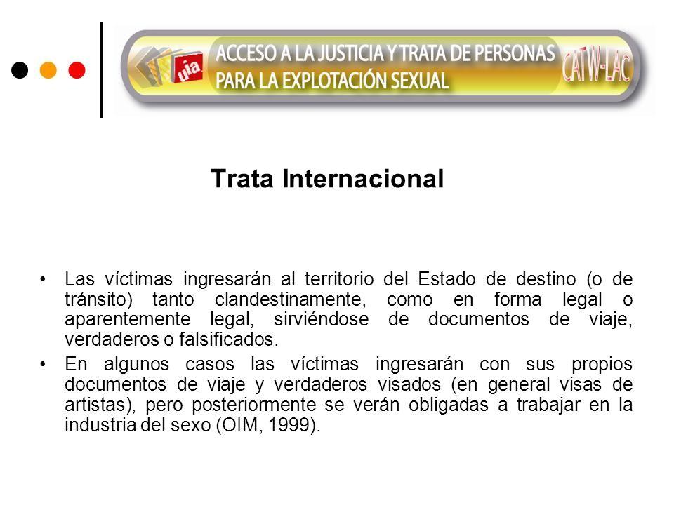 Trata Internacional Las víctimas ingresarán al territorio del Estado de destino (o de tránsito) tanto clandestinamente, como en forma legal o aparentemente legal, sirviéndose de documentos de viaje, verdaderos o falsificados.