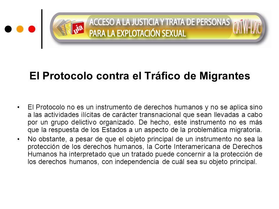 El Protocolo contra el Tráfico de Migrantes El Protocolo no es un instrumento de derechos humanos y no se aplica sino a las actividades ilícitas de carácter transnacional que sean llevadas a cabo por un grupo delictivo organizado.