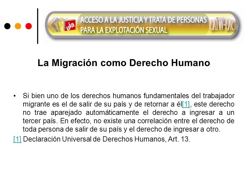 La Migración como Derecho Humano Si bien uno de los derechos humanos fundamentales del trabajador migrante es el de salir de su país y de retornar a él[1], este derecho no trae aparejado automáticamente el derecho a ingresar a un tercer país.