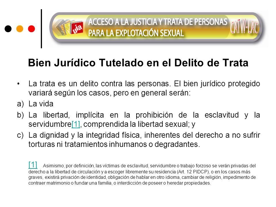 Bien Jurídico Tutelado en el Delito de Trata La trata es un delito contra las personas.