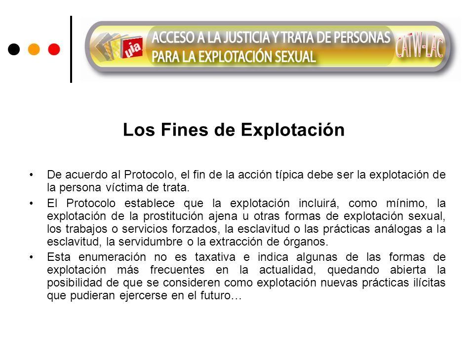 Los Fines de Explotación De acuerdo al Protocolo, el fin de la acción típica debe ser la explotación de la persona víctima de trata.