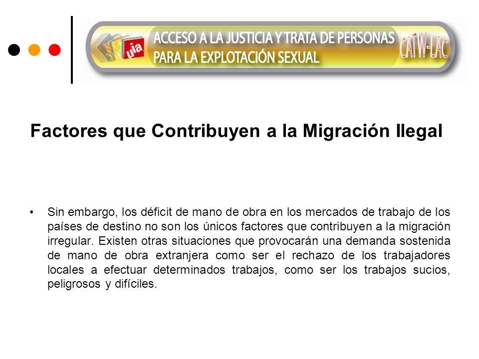 Factores que Contribuyen a la Migración Ilegal Sin embargo, los déficit de mano de obra en los mercados de trabajo de los países de destino no son los únicos factores que contribuyen a la migración irregular.
