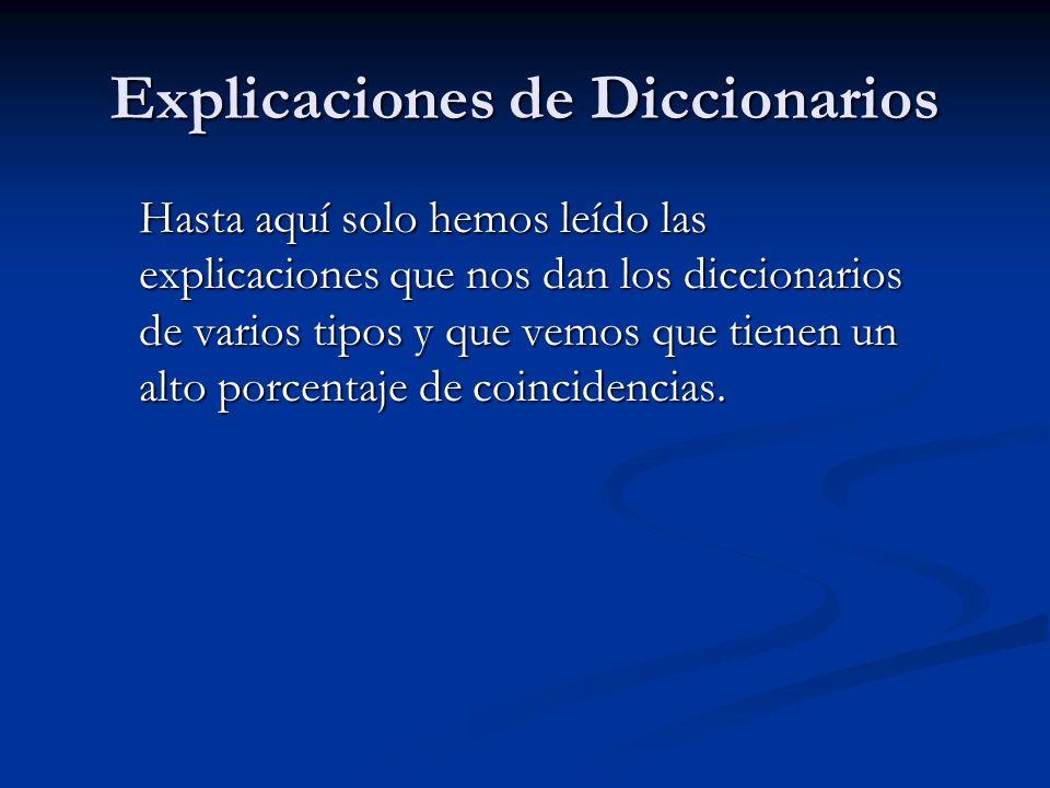 Explicaciones de Diccionarios Hasta aquí solo hemos leído las explicaciones que nos dan los diccionarios de varios tipos y que vemos que tienen un alt