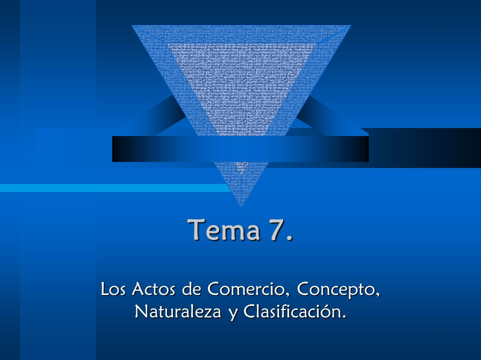 Tema 7. Los Actos de Comercio, Concepto, Naturaleza y Clasificación.