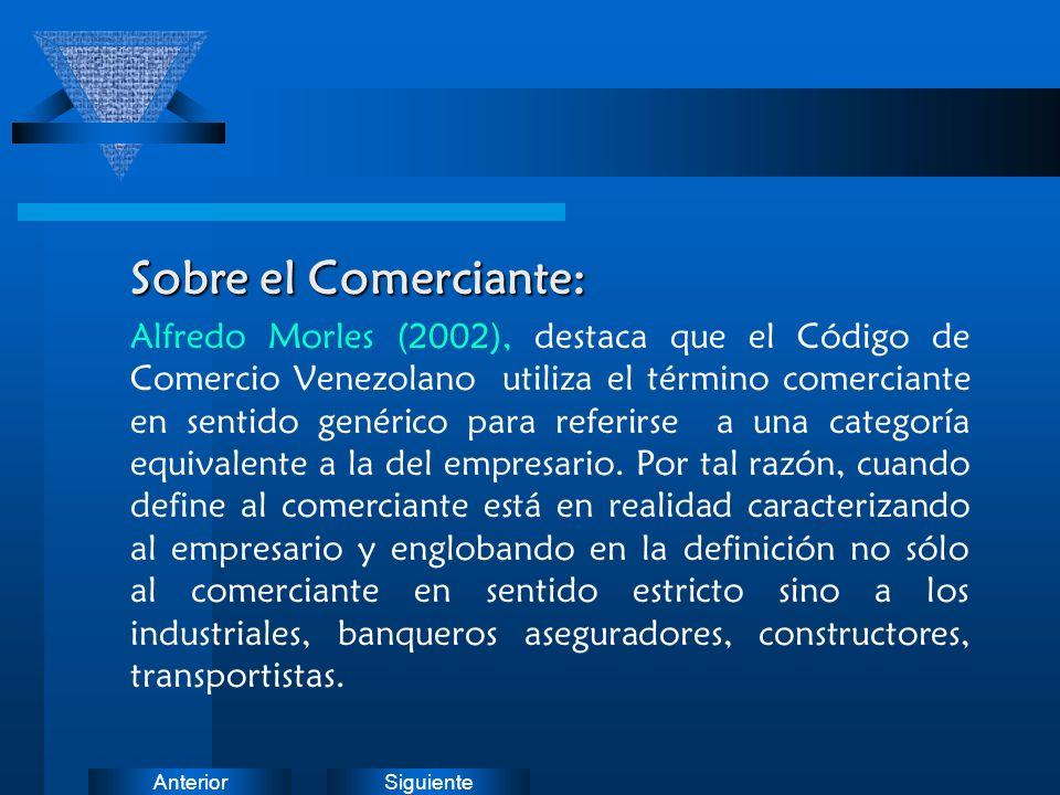 SiguienteAnterior Sobre el Comerciante: Alfredo Morles (2002), destaca que el Código de Comercio Venezolano utiliza el término comerciante en sentido