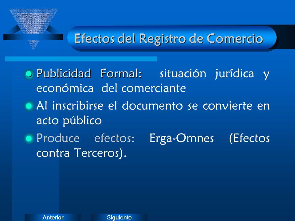 SiguienteAnterior Efectos del Registro de Comercio Publicidad Formal: Publicidad Formal: situación jurídica y económica del comerciante Al inscribirse