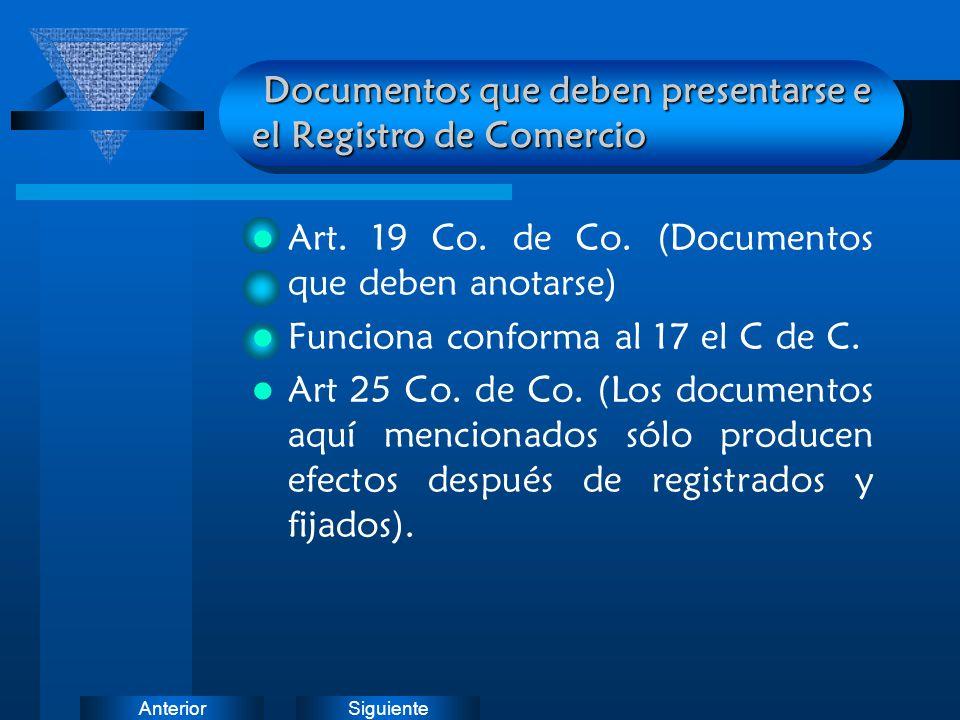 SiguienteAnterior Documentos que deben presentarse e el Registro de Comercio Documentos que deben presentarse e el Registro de Comercio Art. 19 Co. de