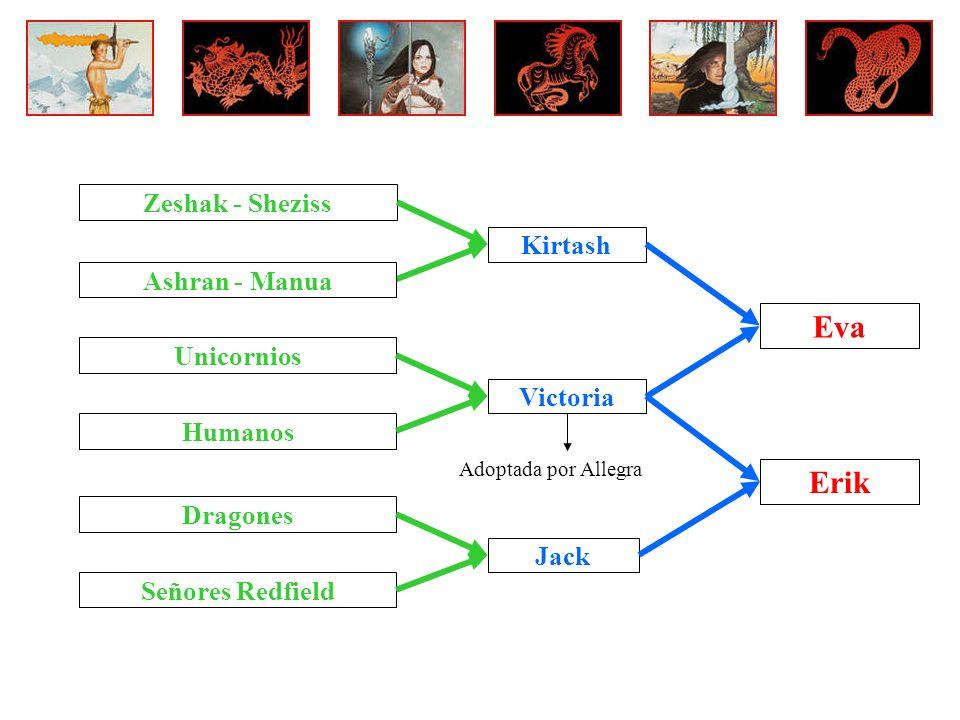 Kirtash Ashran - Manua Zeshak - Sheziss Dragones Señores Redfield Jack Unicornios Humanos Victoria Adoptada por Allegra Eva Erik